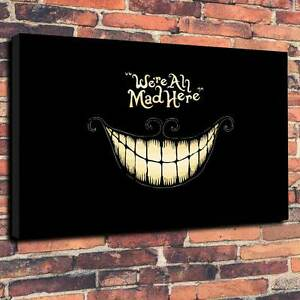 """Alice We're All Mad Here Canvas Print A1.30""""x20""""Deep 30mm Frame V4"""