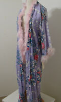 JUDY'S Vintage Rayon Lavender Floral Print Feather Trim Kimono Robe JAPAN XL