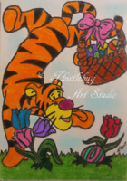 ACEO Tigger Disney Easter Tiger Cat Animal Original Artwork Art Card