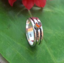 Garnet Stone Solid 925 Sterling Silver Spinner Ring Meditation Ring Size sr12