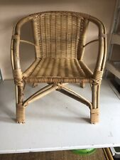 Child's (Lloyd Style) Wicker Chair Bamboo Rattan Display for Teddy Bear Home Dec