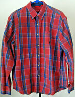 Men's IZOD LS Dress Casual Shirt Size Large Red Blue Plaid 100% Cotton