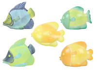 Home Decor Yellow Blue Green Tropical Fish Statue Ornament For Lounge Bathroom