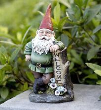 """Super Cute! 11"""" Gnome Welcome Stump Outdoor Garden Statue Door Stop"""