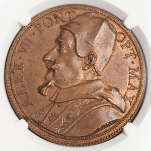"""1675, Vatican, Pope Alexander VII. Bronze """"St. Peter`s Square"""" Medal. NGC MS-64!"""