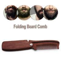 1PC Folding Beard Comb Wood Anti-static Hair Comb Pocket Moustache Comb Q