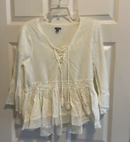 AERIE Embroidered Crocheted Tasseled Ivory Peasant Blouse Top Women's Medium M