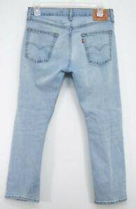 Levis Mens 513 0373 Medium Blue Wash Slim Straight Fit Denim Jeans Size 33 x 30