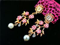 Lovely Crystal Pearl Flower Betsey Johnson Women's Ear Stud Earrings