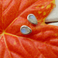 Mondstein blau weiß modern elegant Ohrstecker Ohrringe 925 Sterling Silber neu