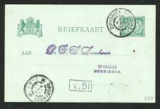 Nederland briefkaart uit 1901 grootrondstempels ZUIDBROEK-TER APEL en GRONINGEN