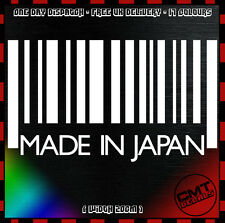 Car Decal Made In Japan Barcode Bumper Sticker JDM Import Civic Honda 17 Colours