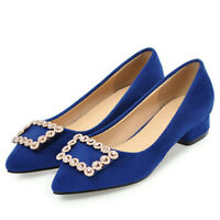 Women Pumps Shoes Rhinestone Sexy Pointed Toe Block Low Heel Party Dress Sandals