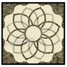 27 Inches Marble Patio Sofa Table Stone Coffee Table Top with Geometrical Art