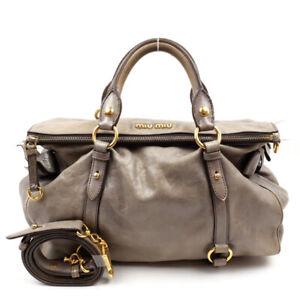 MIUMIU Handbag Shoulder Bag 2WAY logo leather gray
