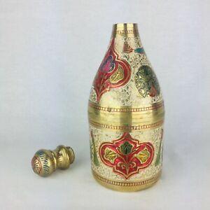 Collectable Brass Beer Bottle Holder Decorative Meenakari Hand Painted