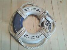 Cuerda/Lifebuoy de madera decoración náutica regalo bienvenido a bordo de signo 22cm