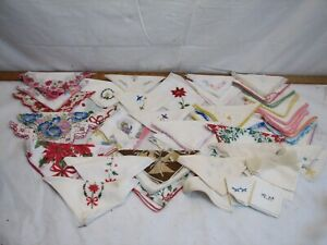 Lot 45 Vintage Embroidered Ladies Handkerchiefs Lace Hanky Hankie Floral