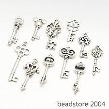 100g Mixed Tibetan Style Key Alloy Pendants Antique Silver about 60~65pcs/100g