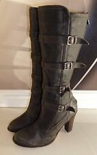 Belstaff Buxton DISTRESSED KNEE HIGH HEEL CANVAS & LEATHER WINTER BOOTS  4