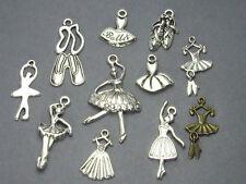 12 Ballerina Charms, Mixed Assorted Dance Set