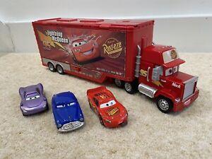 Disney Pixar Mack Truck Hauler Playset With 1:55 Diecast Cars Car Wash Repair