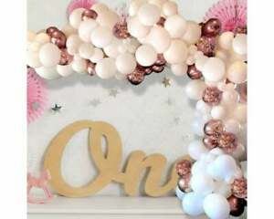 Balloon Arch Garland Kit - 124 Pieces - White, Rose Gold & Rose Gold Confetti