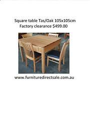 Square Dining Table 105x105cm Tasmanian Tas/Oak Timber  $599.00