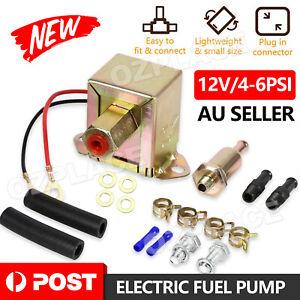Universal Electric Fuel Pump 12 volt Solid State 4-6psi 130 LPH Petrol Facet AU