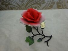 Vintage Retro Capodimonte GNF Porcelain NEW  Red Rose on Stem Ornament