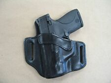 S&W Shield .45 OWB Leather 2 Slot Molded Pancake Belt Holster CCW BLK LEFT HAND