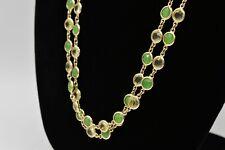 Talbots Vintage Statement Necklace Open Bezel Crystal Green Clear Gold Chic Bin2