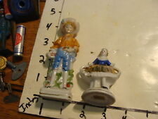 SET OF 2 HANDPAINTED FIGURINES, MADE IN JAPAN; BOY IN HAT, LADY IN GOLD DRESS
