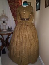 Civil War Reenactment Day Dress Size 10  Gold and Cream