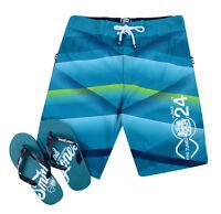 Smith & Jones Summer Beach Surf Swim Board Shorts & Flip Flop Set Teal Green