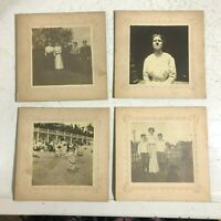 Lot of 4 Antique Photographs Snapshots on Cardboard Groups Portraits 1908