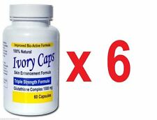 6 X  Ivory Caps Skin Whitening Lightening Support 1500mg Pills - 60 capsules