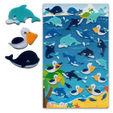 CUTE DOLPHIN & WHALE FELT STICKERS Sheet Raised Fuzzy Craft Scrapbook #283