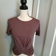 Zara Women's T-shirt Size S Red Black Stripes Knotted Front Short Sleeve Cotton