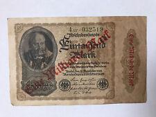 German Vintage Banknote. Eine Millarde Mark Dated 1922 Reichsbanknote