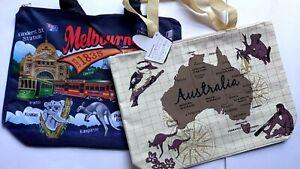 SALE Australia Souvenir Cream Map and Navy Melbourne Shopping tote hand bag New