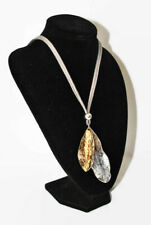 LAGENLOOK TWO TONE SILVER AND GOLD LEAF PENDANTS ON GREY LEATHER CORD NECKLACE