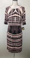 Taylor Sheath Dress Size 12 Boat Neck 3/4 Sleeve Abstract Print J2073
