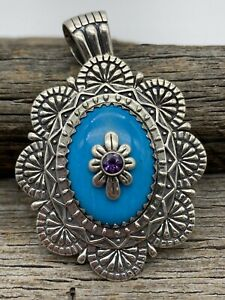 Carolyn Pollack Relios Sterling Silver Turquoise & Amethyst Pendant Enhancer