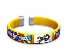 Adult Autism Bangle Bracelet-Yellow with Autism Awareness Ribbon-FREE SHIPPING