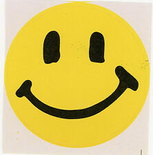 "HAPPY FACE 6 Peel n Stick Yellow Smile STICKER Lg about 2 3/8"" w indoor use"