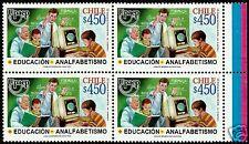 CHILE, UPAEP 2002, EDUCATION & ILLITERACY, MNH, BLOCK OF 4, YEAR 2002 SCOTT 1402