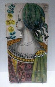 Vintage Fratelli Fanciullacci Ceramic Wall Plaque Female Subject Italy