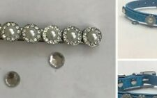 Silver Personalised Pearl Hair Clip Slide + Dog /cat Puppy blue Collar Xs New