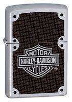 Zippo Harley Davidson Satin Chrome LIghter With Carbon Fiber Logo, #  24025, NIB
